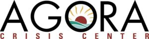 """The Agora Crisis Center Logo. Inside the letter """"O"""" in """"Agora"""", there's an illustration of a setting sun."""