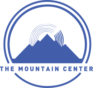 The Mountain Center's logo. It's a blue mountain with concentric semicircles at the peak, surrounded by two more concentric circles.