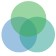 Three intersecting transparent circles, colored green, teal, and indigo.