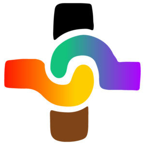 Plus sign logo with rainbow colors on the left and center arms. In the center two hands join together. There is a black top arm and brown bottom arm.